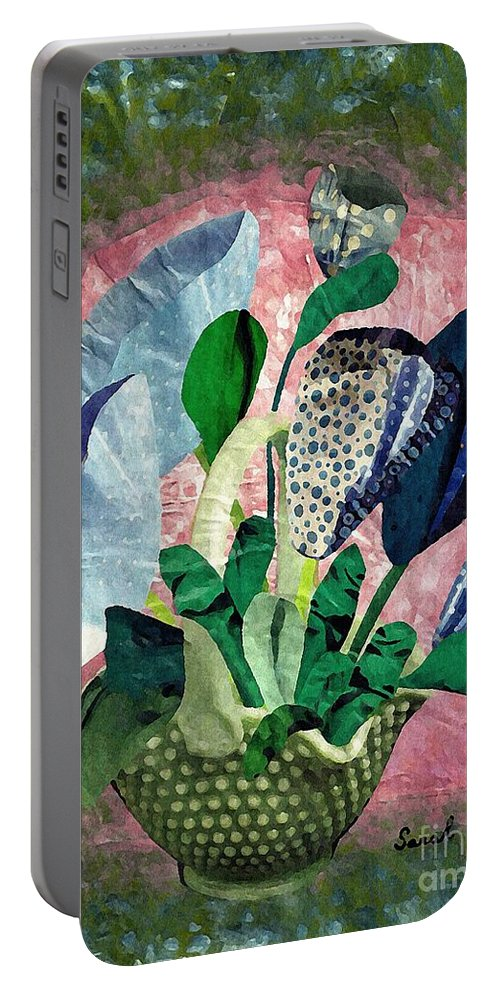 Floral Portable Battery Charger featuring the mixed media Dot Bouquet by Sarah Loft