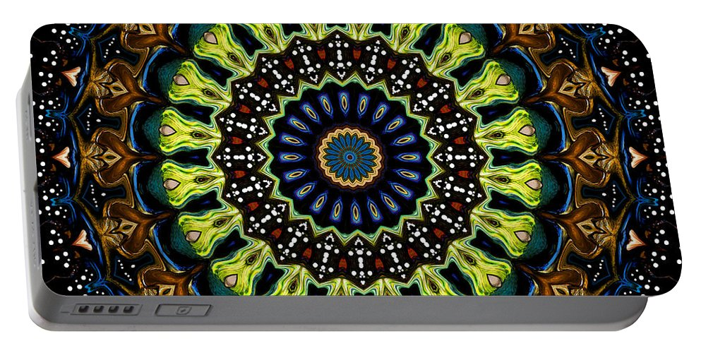 Digital Portable Battery Charger featuring the digital art Dotted Wishes No. 3 Kaleidoscope by Joy McKenzie