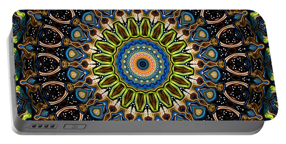 Digital Portable Battery Charger featuring the digital art Dotted Wishes No. 4 Kaleidoscope by Joy McKenzie