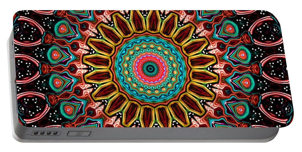 Digital Portable Battery Charger featuring the digital art Dotted Wishes No. 4 Mandala by Joy McKenzie