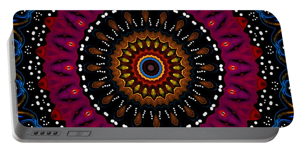 Digital Portable Battery Charger featuring the digital art Dotted Wishes No. 5 Kaleidoscope by Joy McKenzie