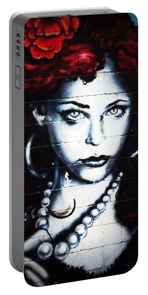 Graffiti Portable Battery Charger featuring the photograph Dotty Diva by Lisa Knechtel