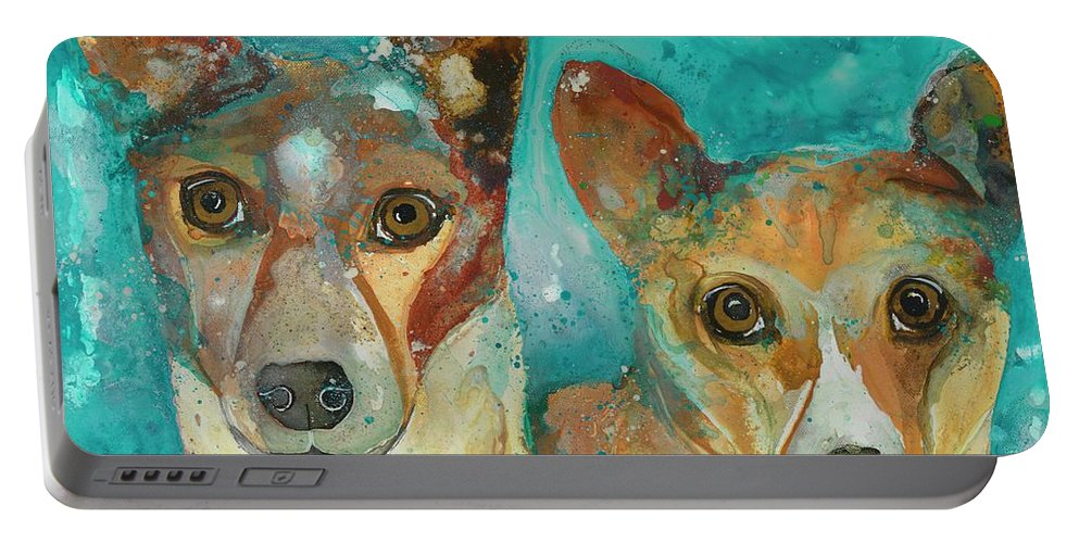 Dogs Portable Battery Charger featuring the painting Double Bazinga by Kasha Ritter