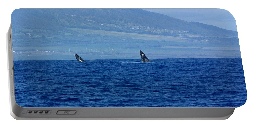 Whale Portable Battery Charger featuring the photograph Double Breach by Sarah Houser