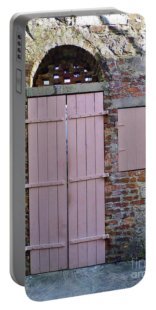 Door Portable Battery Charger featuring the photograph Double Doors And A Window by D Hackett