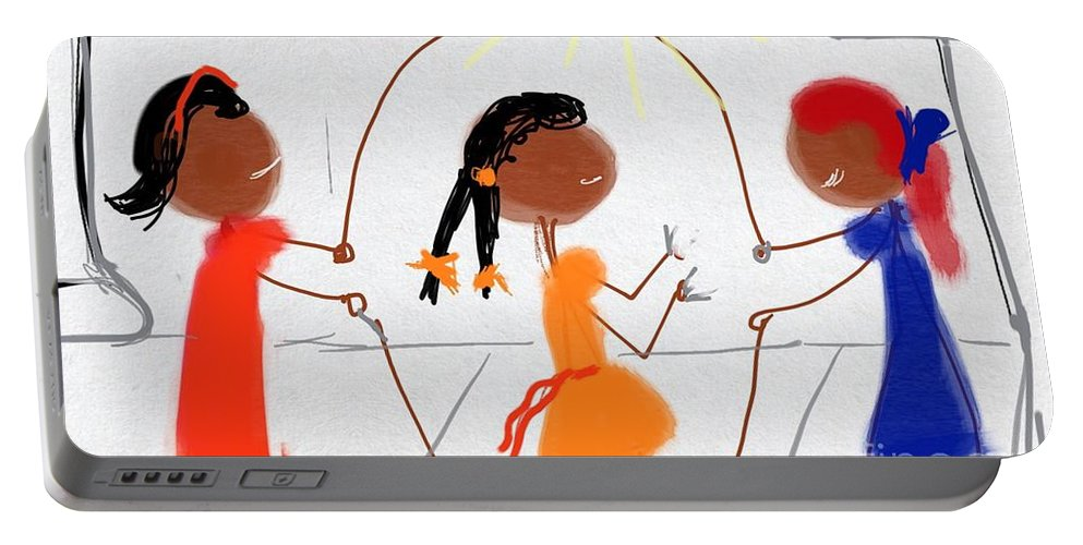Jumping Rope Portable Battery Charger featuring the digital art Double Dutch by Glenda Thomas