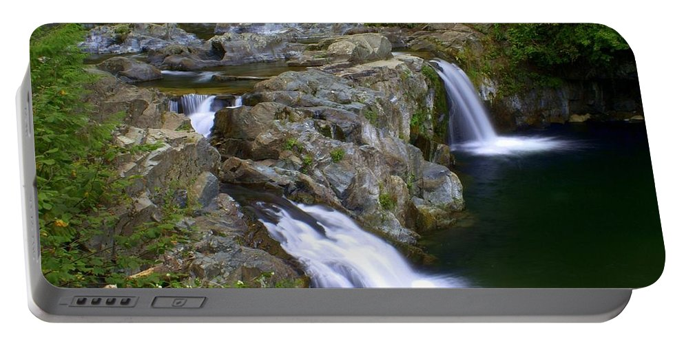 Waterfalls Portable Battery Charger featuring the photograph Double Falls by Marty Koch