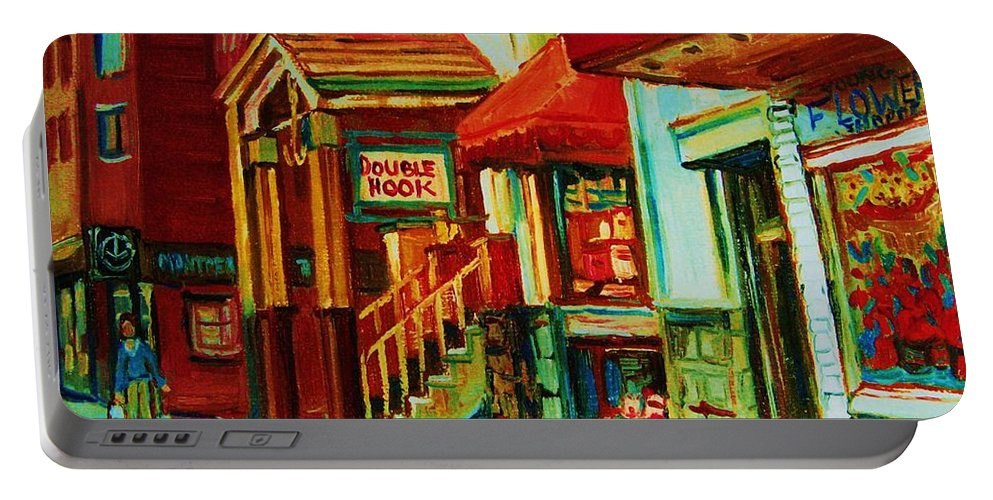 Double Hook Bookstore Portable Battery Charger featuring the painting Double Hook Book Nook by Carole Spandau