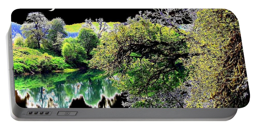 Umpqua River Portable Battery Charger featuring the digital art Double Moon by Will Borden