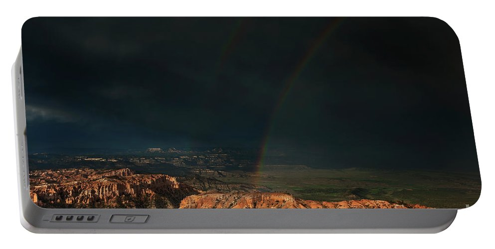 North America Portable Battery Charger featuring the photograph Double Rainbow Over Hoodoos Bryce Canyon National Park by Dave Welling