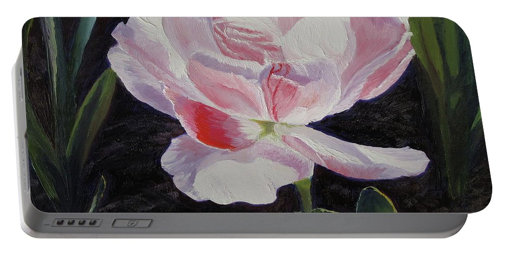 Flower Portable Battery Charger featuring the painting Double Sassy Tulip by Lea Novak