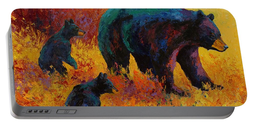 Bear Portable Battery Charger featuring the painting Double Trouble - Black Bear Family by Marion Rose