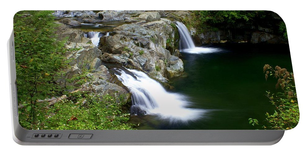 Waterfall Portable Battery Charger featuring the greeting card Double Twin 2 by Marty Koch