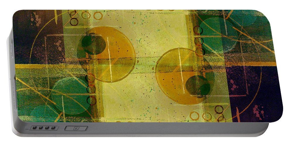 Abstract Portable Battery Charger featuring the digital art Double Vision by Ruth Palmer