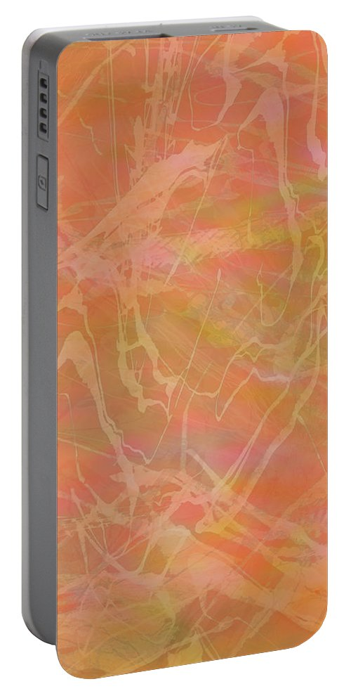 Abstract Portable Battery Charger featuring the mixed media Edition 1 Double Wow Soft by Kristin Doner