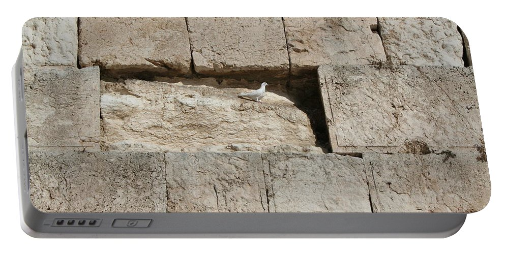 Kotel Portable Battery Charger featuring the photograph Dove On The Kotel by Eliyahu Shear