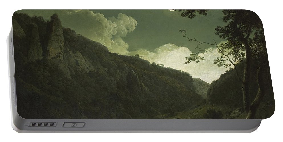 Nocturne Portable Battery Charger featuring the painting Dovedale By Moonlight by Joseph Wright of Derby