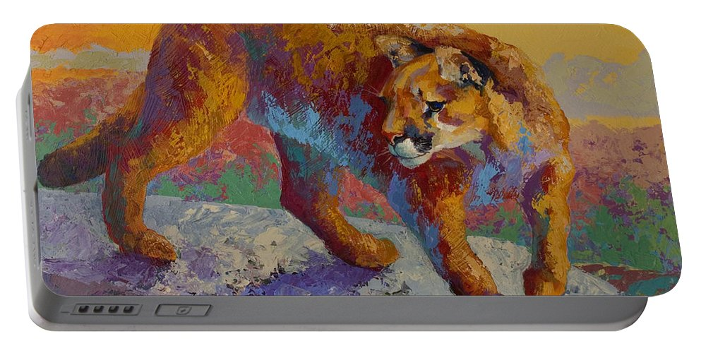 Mountain Lion Portable Battery Charger featuring the painting Down Off The Ridge - Cougar by Marion Rose