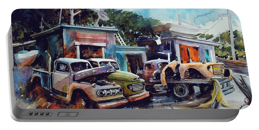 Trucks Portable Battery Charger featuring the painting Down on the Lower Road by Ron Morrison