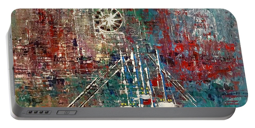 Sailboats Portable Battery Charger featuring the painting Down The River by George Riney