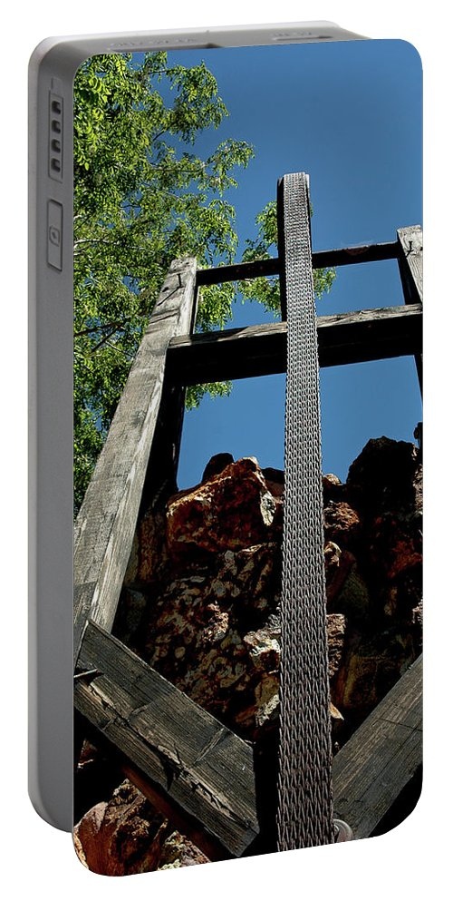 Usa Portable Battery Charger featuring the photograph Down The Shaft Virginia City Nv by LeeAnn McLaneGoetz McLaneGoetzStudioLLCcom