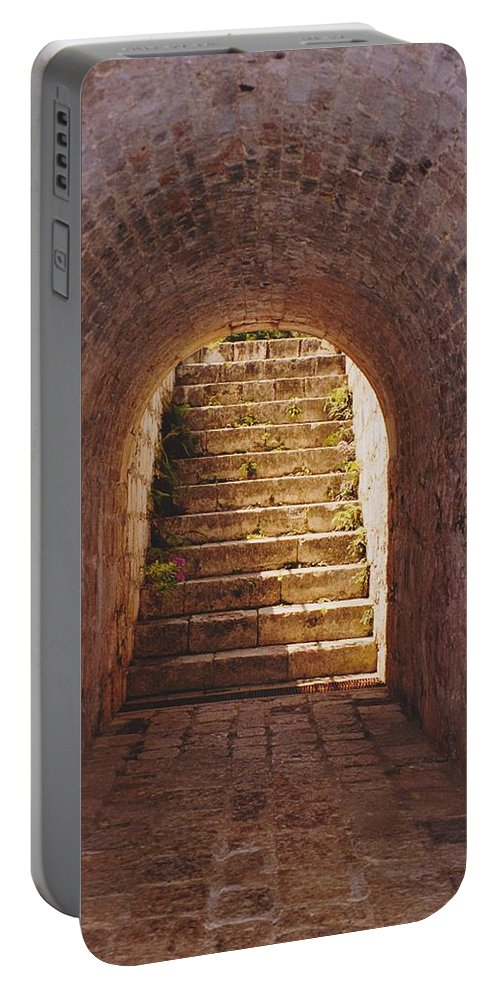 Brick Portable Battery Charger featuring the photograph Down To The Cellar by Michelle Powell