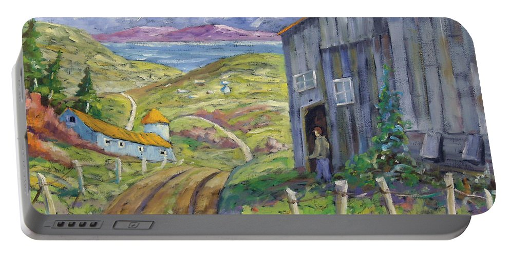 Art Portable Battery Charger featuring the painting Down To The Fjord by Richard T Pranke