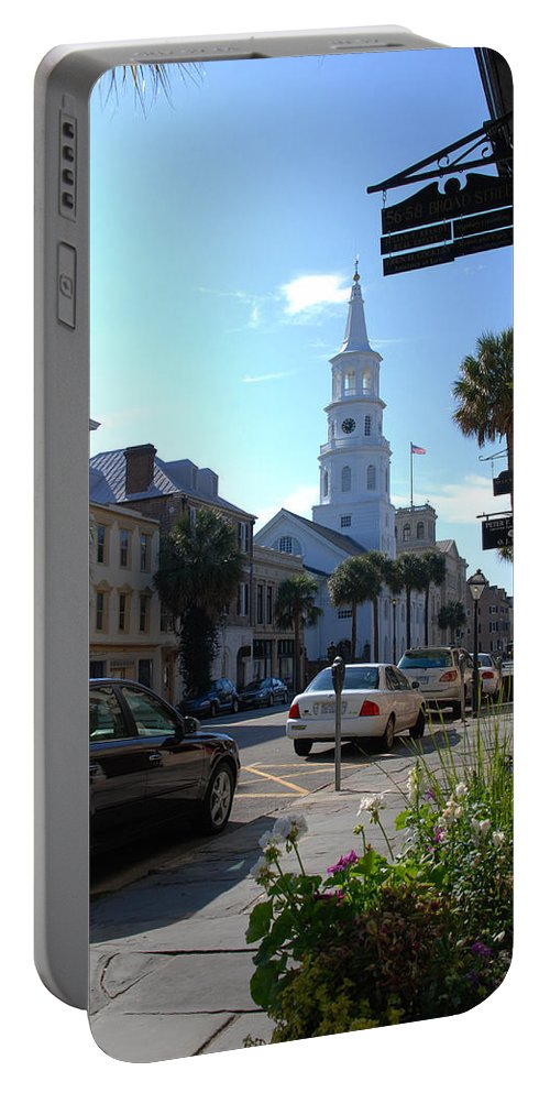 Photography Portable Battery Charger featuring the photograph Down Town Charleston by Susanne Van Hulst