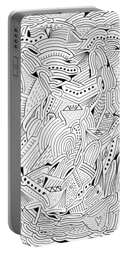 Mazes Portable Battery Charger featuring the drawing Down Under by Steven Natanson