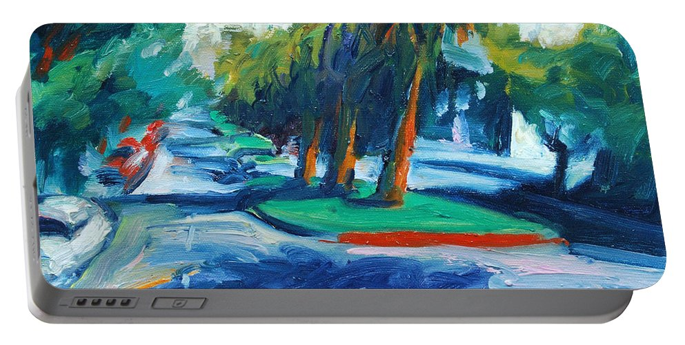San Francisco Portable Battery Charger featuring the painting Downhill by Rick Nederlof