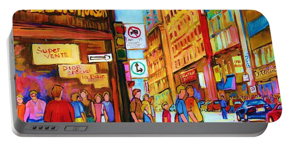 Cityscape Portable Battery Charger featuring the painting Downtown by Carole Spandau