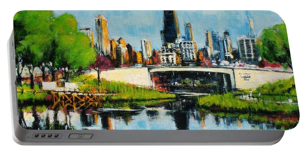 Robert Reeves Portable Battery Charger featuring the painting Downtown Chicago From Lincoln Park by Robert Reeves
