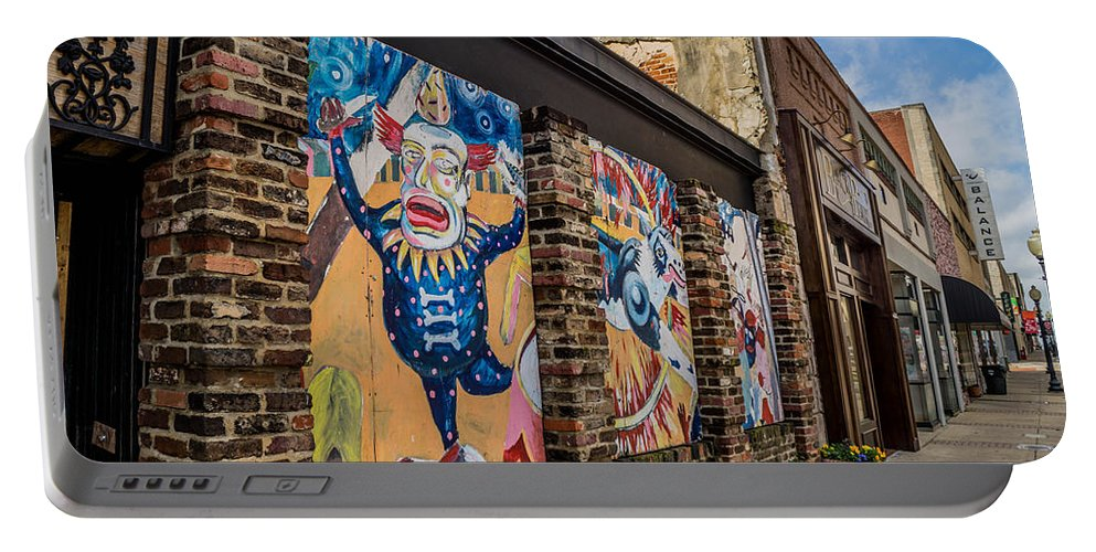 Tyler Portable Battery Charger featuring the photograph Downtown Clowns by Darrell Clakley