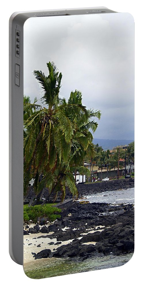 Landscape Portable Battery Charger featuring the painting Downtown Kona by Athala Carole Bruckner