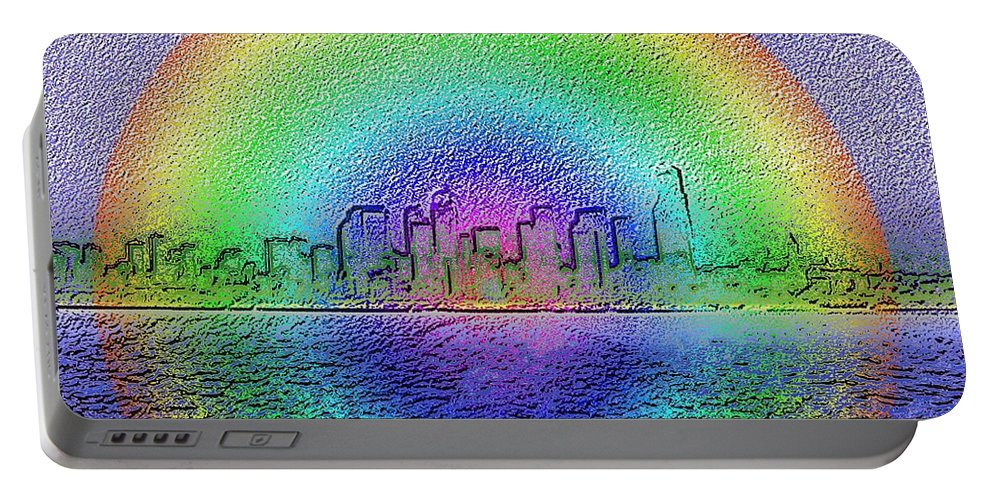 Seattle Portable Battery Charger featuring the photograph Downtown Rainbow In The Wake by Tim Allen