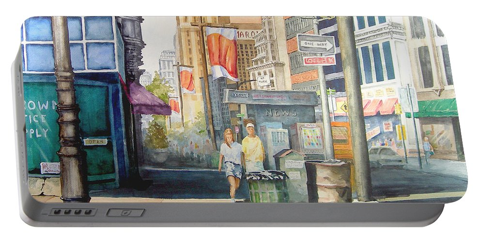 City Portable Battery Charger featuring the painting Downtown by Sam Sidders