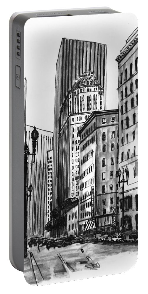 San Francisco Portable Battery Charger featuring the painting Downtown San Francisco by Masha Batkova