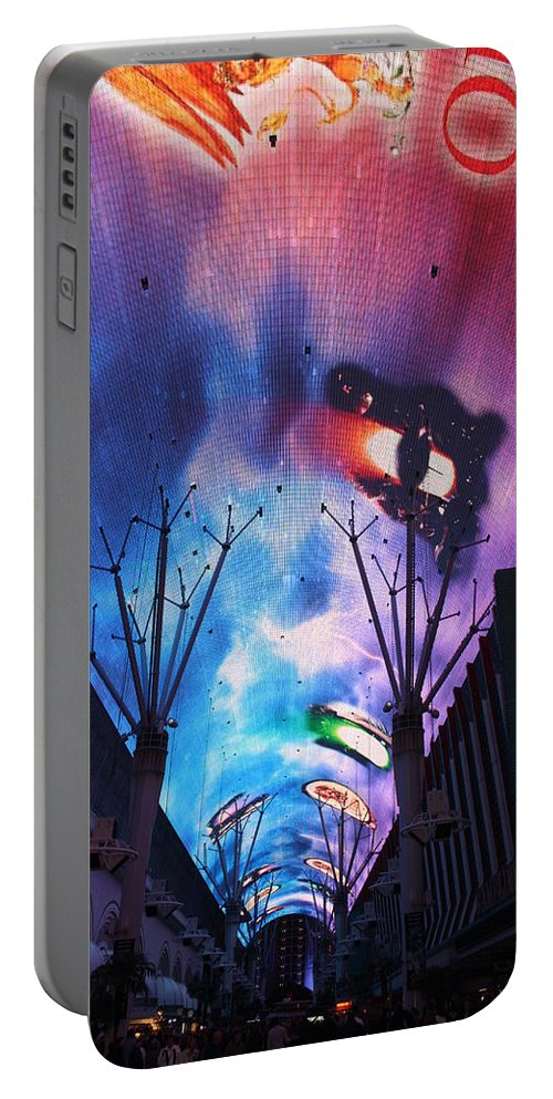 Las Vegas Portable Battery Charger featuring the photograph Downtown Vegas Night by John W Smith III