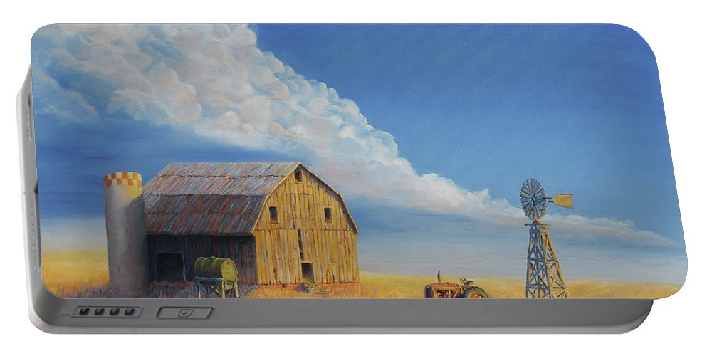 Barn Portable Battery Charger featuring the painting Downtown Wyoming by Jerry McElroy