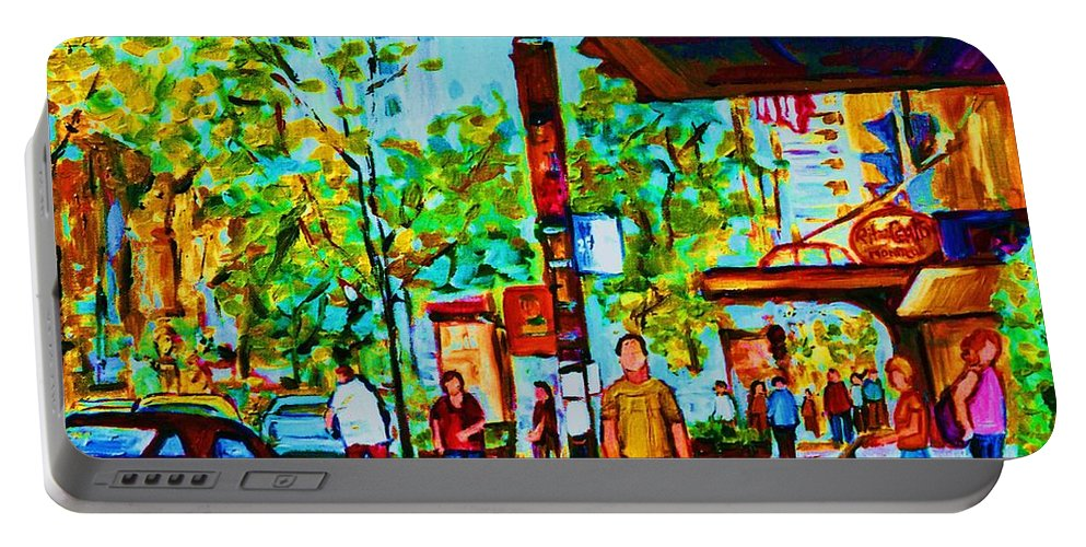 Montreal Streetscene Portable Battery Charger featuring the painting Downtowns Popping by Carole Spandau