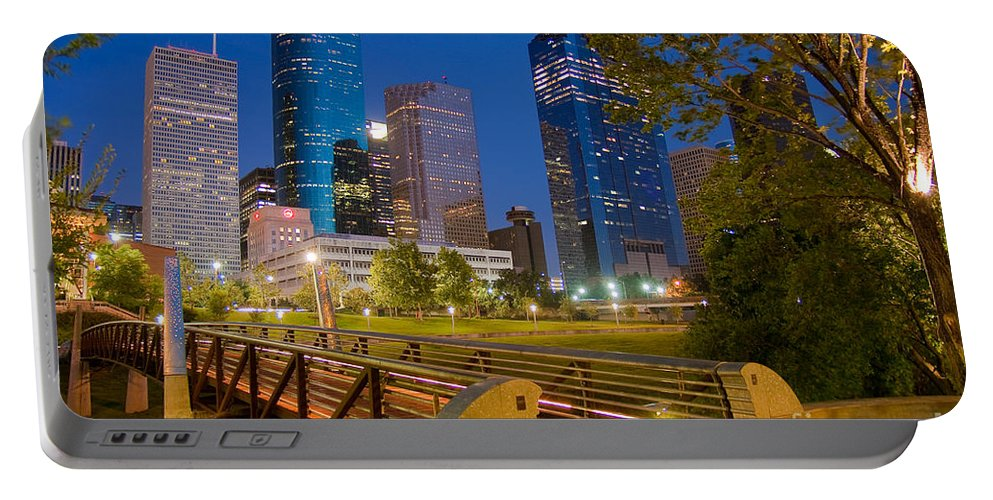 Walk Portable Battery Charger featuring the photograph Dowtown Houston By Night by Olivier Steiner