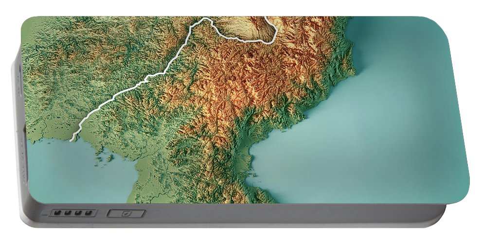 Dpr Korea Portable Battery Charger featuring the digital art Dpr Korea 3d Render Topographic Map Border by Frank Ramspott