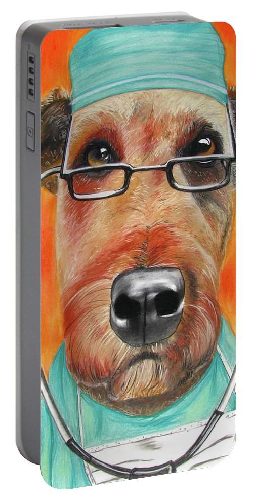 Michelle Hayden-marsan Painting Portable Battery Charger featuring the painting Dr. Dog by Michelle Hayden-Marsan