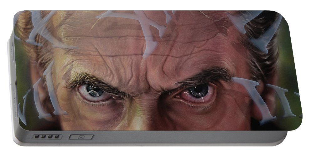 Drwho Portable Battery Charger featuring the painting Dr. Who by Robert Haasdijk