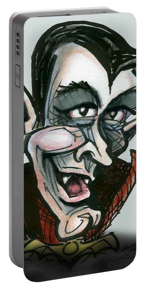 Dracula Portable Battery Charger featuring the greeting card Dracula by Kevin Middleton