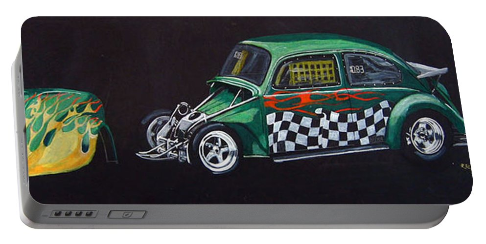 Vw Portable Battery Charger featuring the painting Drag Racing Vw by Richard Le Page