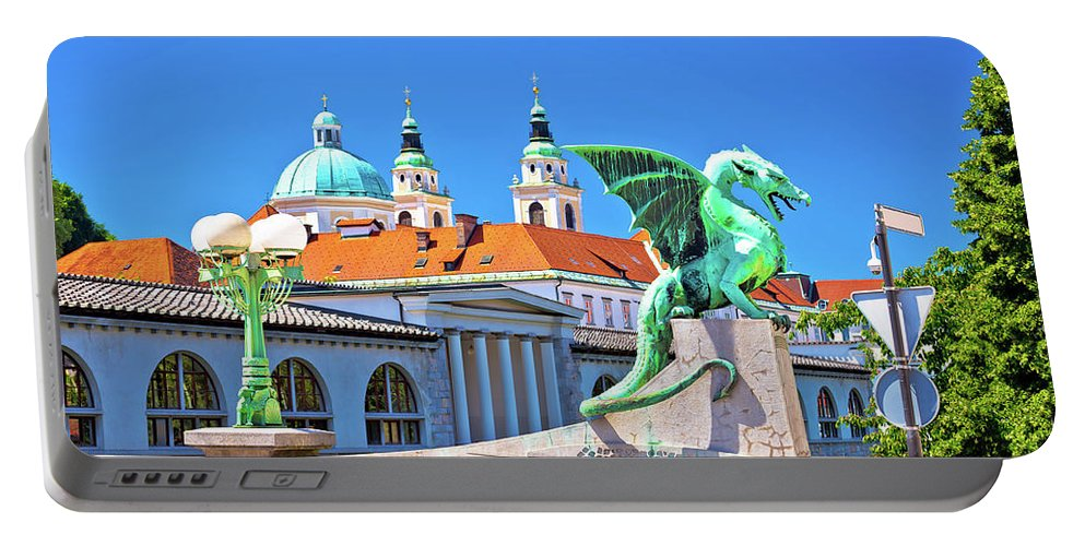Capital Portable Battery Charger featuring the photograph Dragon Bridge And Landmarks Of Ljubljana View by Brch Photography