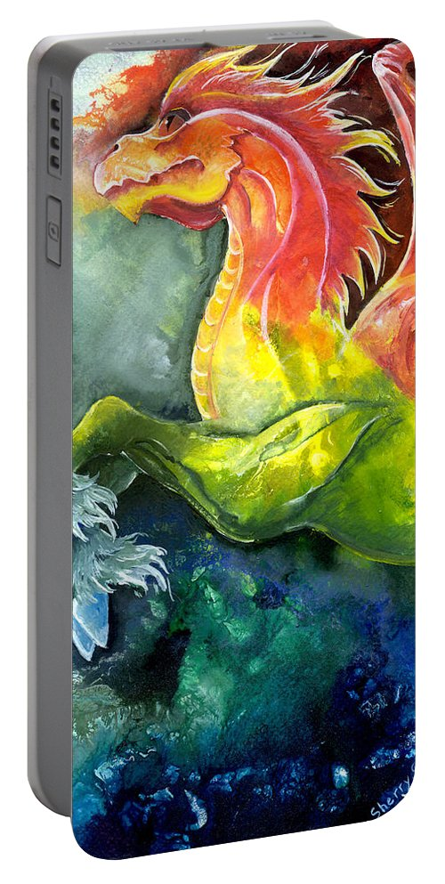 Fantasy Art Portable Battery Charger featuring the painting Dragon Horse by Sherry Shipley