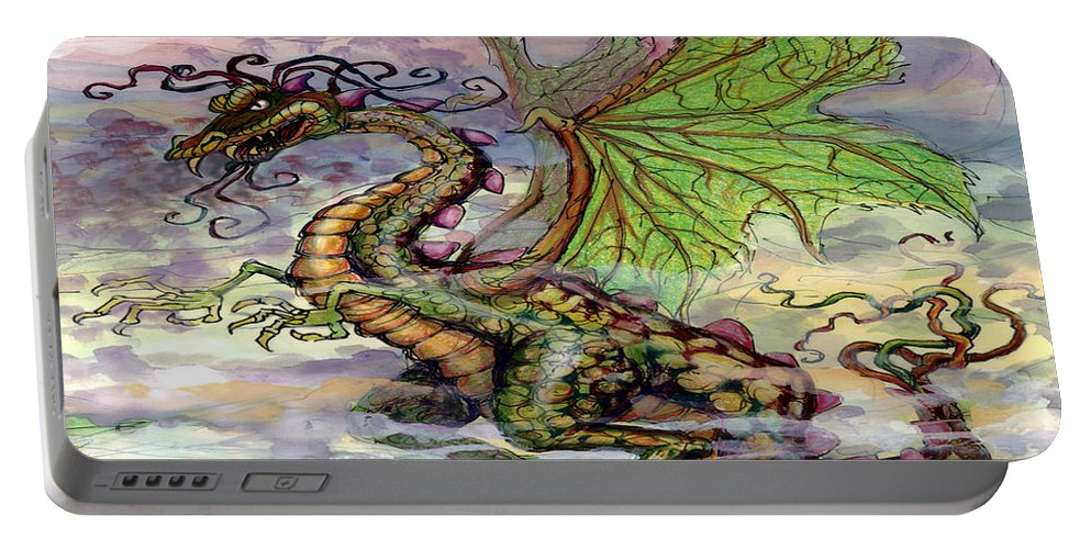 Dragon Portable Battery Charger featuring the painting Dragon by Kevin Middleton