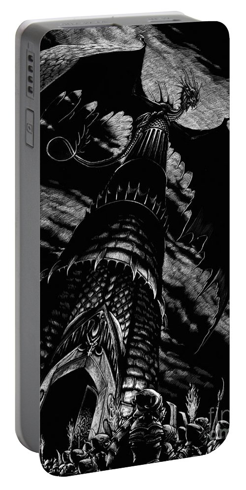 Dragon Portable Battery Charger featuring the drawing Dragon Tower by Stanley Morrison